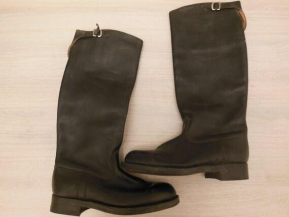 Neue, Vintage Kavallerie Stiefel, Military Stiefel, schwarze Lederstiefel, Reitstiefel, nicht verwendet alte Stiefel, Lederstiefel, Motorradstiefel,