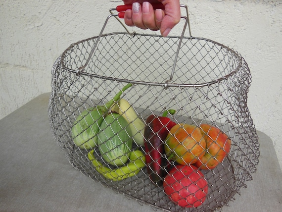 Vintage Metal Bag, Basket - Shopping Bag, Basket,