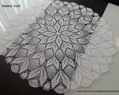 Crochet doily Lace napkin Round White doilies Knitted tablecloth Open-work Home Table Decor Table Decoration Mothers Gift for her 25 inch