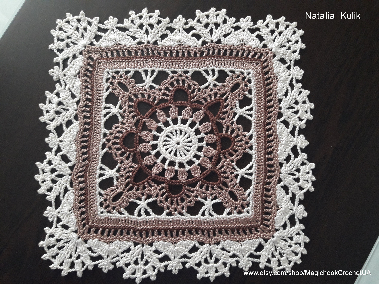 Crochet Square Doily Beige Brown Crocheted Doilies Motif Etsy