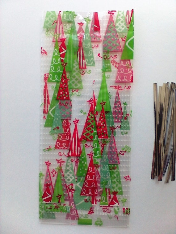 10 Rockin Christmas Trees Music Notes Stars Cello Favor Treat Bags 9 5 X 4 Clear Cellophane Goodie Party Craft Supplies Red Green