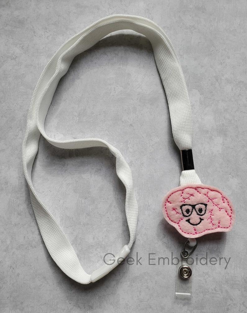 Felt Boy Brain Badge Reel ~  Medical Badge Reel  ~  ID Holder ~ RN ~ Medical Student ~ Neurology ~ Feltie ~ Neurologist