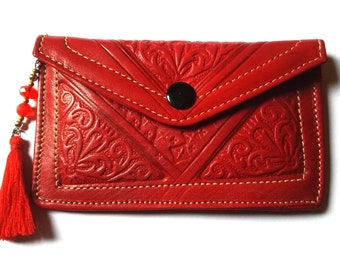 Big Red Leather Wallet Red Leather Wallet Red Leather Wallet Red Leather Clutch Red Wallet Real Leather Red Wallet