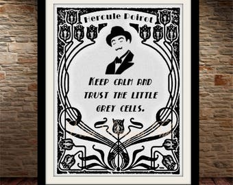 H Poirot Little Grey Cells Print, Printable Art, Instant Download, Printable Quotes, Motivational Art, Printable Wall Art
