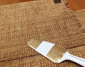 Butterscotch placemats pair - Eco-friendly, handwoven, machine washable, dryable, preshrunk, cotton, viscose