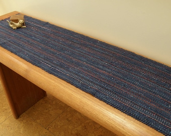 Blue Denim Handwoven Table Runner, Eco-friendly, machine washable, dryable  cotton, rayon, easy care blue, navy, rust, orange grey accents