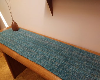 Sea Mist table runners, handwoven Eco-friendly, blue-green easy care preshrunk,  cotton, viscose machine washable, dryable