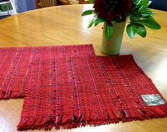 Bright red, warm colourful pair of mats, cotton, rayon, machine washable eco-friendly