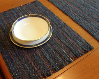 Denim Blue handwoven pair placemats preshrunk machine washable, dryable Eco-friendly easy care cotton and rayon