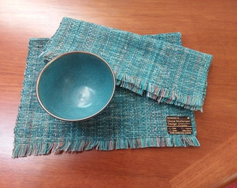 Sea Mist placemats pair handwoven blue-green, Eco-friendly, easy-care  machine washable, dryable cotton, rayon cellulose