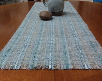 Driftwood handwoven tablerunners, eco-friendly, easy care, machine washable, dryable, beige, grey, greyed blues and greens