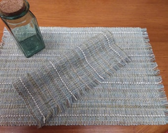 Driftwood pair placemats handwoven eco-friendly, cotton, rayon, easy care machine washable, dryable, beige, grey, blue, green