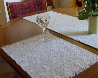 Natural White Placemats pair, Eco-friendly, machine washable, dryable, preshrunk, cotton, viscose, easy care