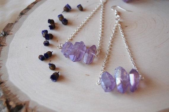 Purple quartz points chain mini crystal AURELIA earrings
