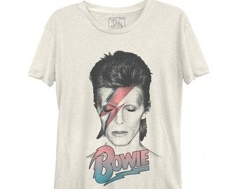 David Bowie Aladdin Sane Pastel Women's Casual Tee (BWE0129-324CRM) Golden Years, Starman, Ziggy Stardust, Labyrinth, Let's Dance