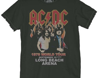 321066389 AC/DC NA Tour 1979 Unisex Tee (ACD0164-728VBK) classic rock, hells bells,  acdc, back in black, rock music, thunderstruck, rocknroll, vintage