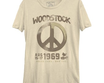 9b25617e6 Woodstock Peace Aug 1969 Women's Casual tee (WOO0050-324CRM) festival, peace  love happiness, summer, white lake, new york, 1969, music