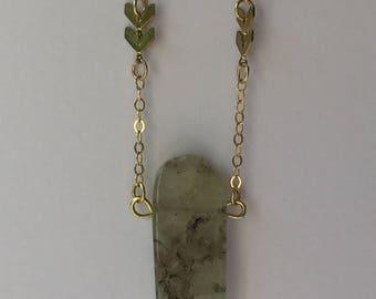 Prehenite long layering necklace