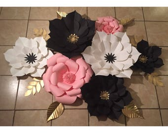 7pc Black, White and Pink Giant Paper Flower Backdrop