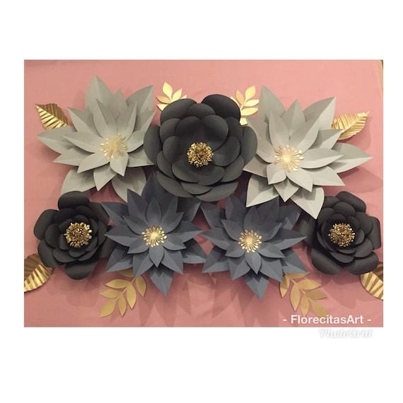 7pc Gray Giant Paper Flower Backdrop Etsy