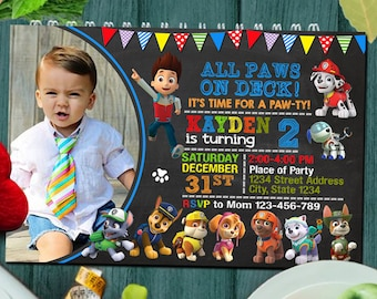 Paw Patrolinvitationbirthdaypaw Patrol Birthdaypaw Invitationpaw Birthday Partypawpatrol