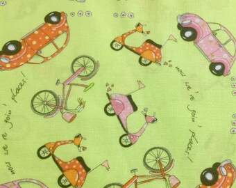 Timeless Treasures Green with Volkswagen Bug Beetle C8358 Cotton Fabric By the Yard