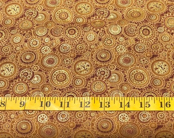 Oasis Fabrics intrigue Medallion Gold with Gold Metallic 6034601 Cotton Fabric By the Yard