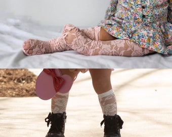30b3814d8 Lace Knee High Socks - Baby and Toddler Knee High Socks- white - Pink -