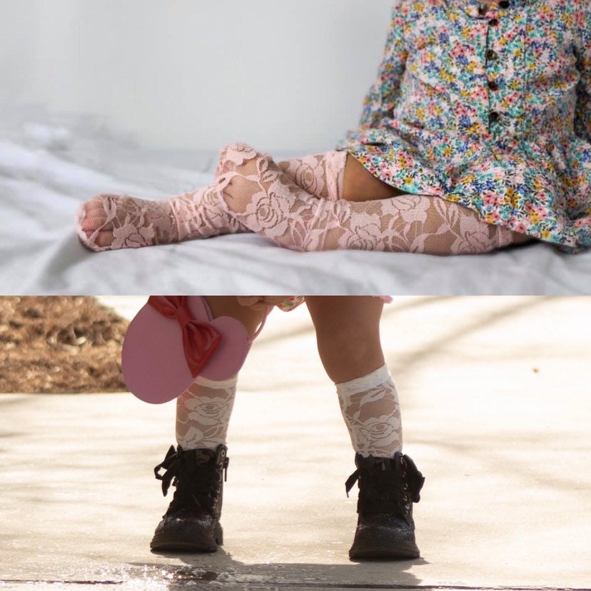 3ca6df553 Lace Knee High Socks - Baby and Toddler Knee High Socks- white - Pink -
