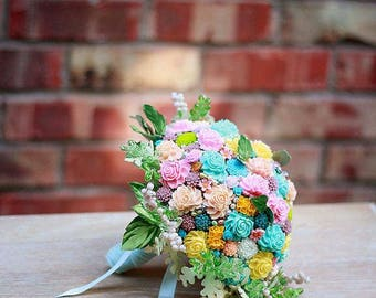 Bridal bouquet and boutonniere set PASTEL DELIGHT - Wedding bouquet Made to order