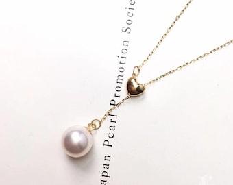AAA 8-8.5mm Akoya Pearl Heart Pendant, 18k Gold w/ Aquamarine
