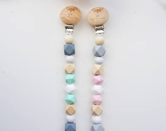 Pacifier Clip with Wooden and Silicone Beads with our Signature Wooden Dummy Clip - Schnullerkette mit Holzclip