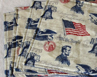 Festive July 4th table place mats (set of 4)