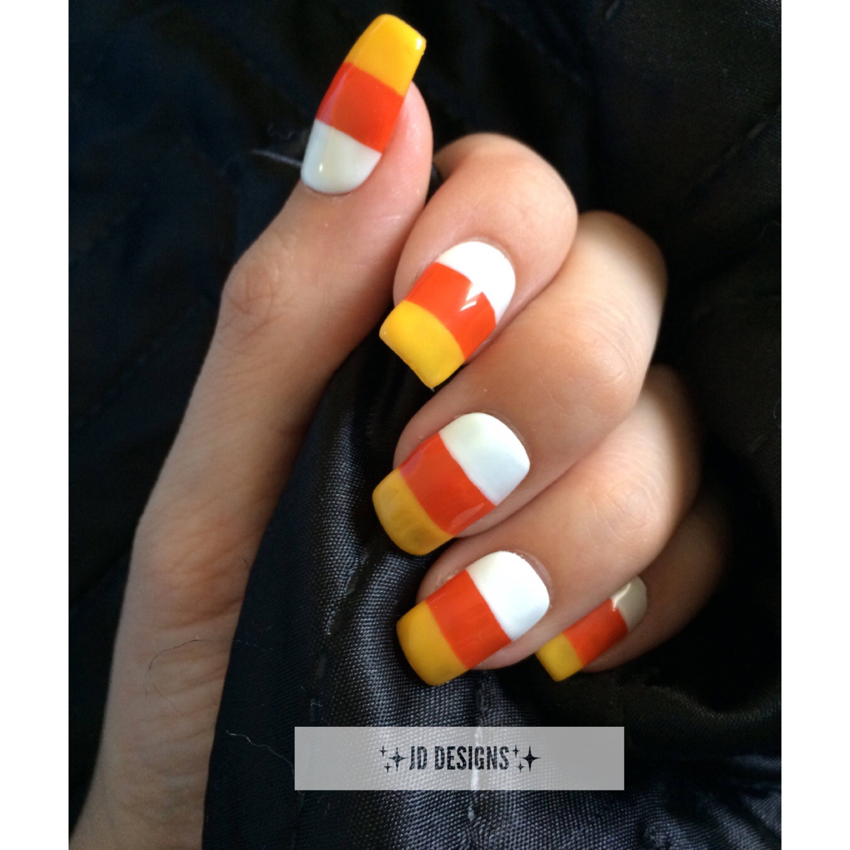 Candy Corn press on nails halloween false nails glue on | Etsy