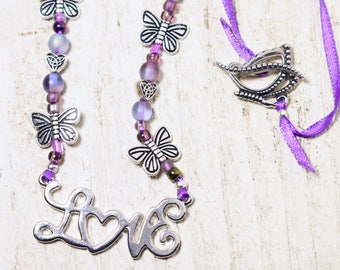 Butterfly Lover Necklace, Butterfly, Butterfly jewelry, Butterfly lover gift, Animal lover gift, Animal jewelry, Purple necklace