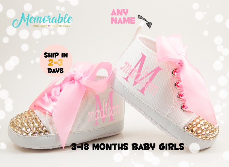 5d9576b30341f Baby Girl Shoes, Personalize baby gift, Baby Girl Shoes, Personalized Baby  Shoes,Infant Shoes,Infant Girl Shoe,Pink High Tops