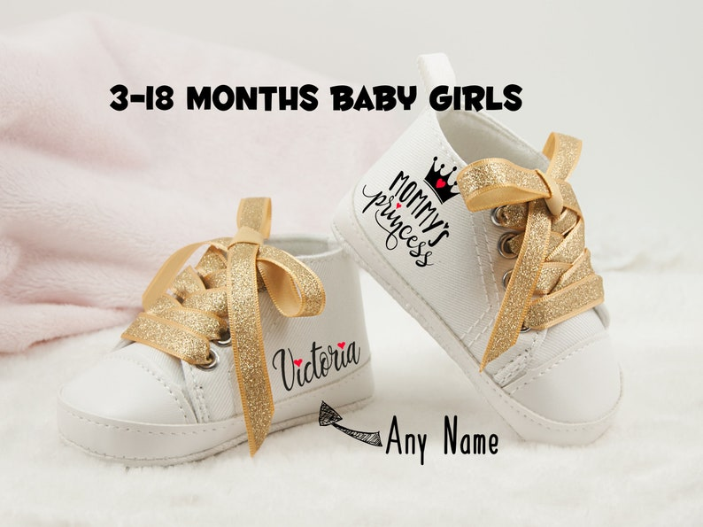 5b2f8ddfb5e11 Mommy's Princess shoes, Baby Girl Gift,first birthday girl gift,  Personalized Baby Shoe,baby announcement gift, first birthday shoe