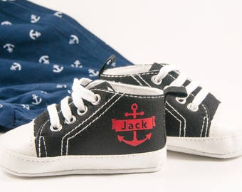 Black anchor high tops, Personalized Baby Shoes, Personalized Shoes, Baby Shoes, Infant Shoes, Soft sole, Baby Gifts, Personalized Baby Gift