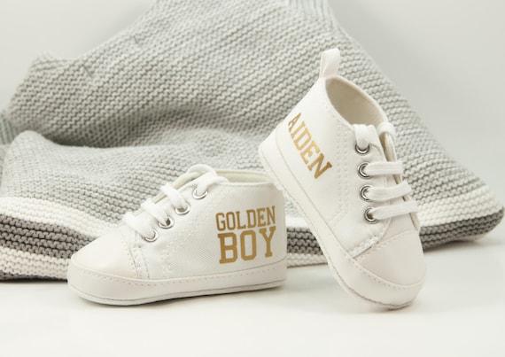 Golden boy baby shoe first birthday
