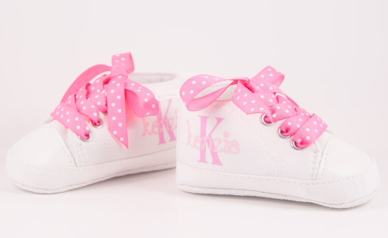 797e212ba286e White sneakers Baby Girl Shoe Personalized Baby Shoes Baby   Etsy