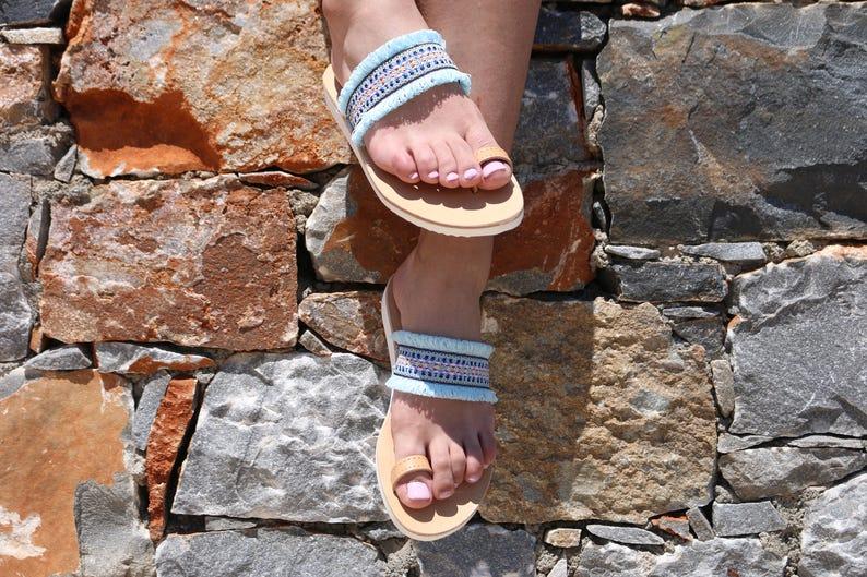 women sandals luxury sandals,Glamorous sandals,leather sandals,Greek sandals,boho sandals light blue sandals,vacation sandals