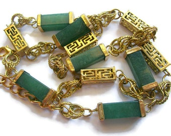 Faux jade and gold necklace, green and gold necklace, asian design necklace, green necklace