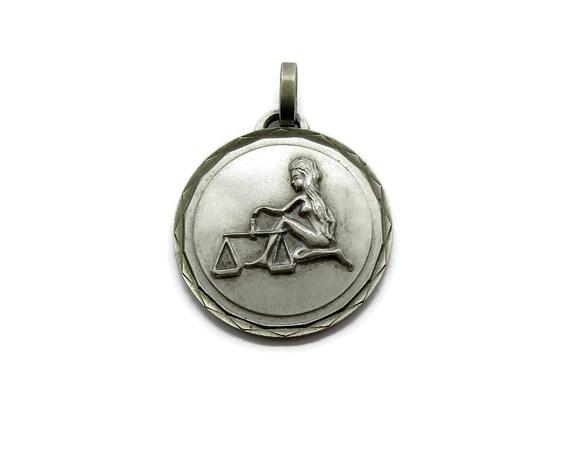 Vintage Libra pendant, large round silver zodiac p
