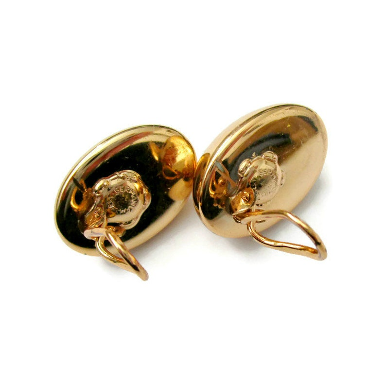 Vintage gold tone button clip on earrings