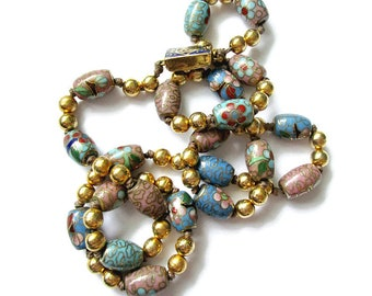 Cloisonne necklace, vintage cloisonne, enamel necklace, cloisonne jewelry, blue and lilac necklace, cloisonne bead necklace