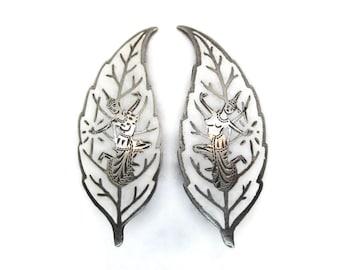 Vintage Siam sterling clip on earrings, white enamel sterling silver clip earrings