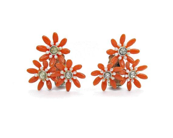 Vintage clip on earrings, orange plastic flower c… - image 3