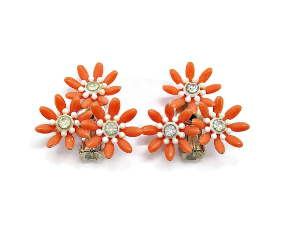 Vintage clip on earrings, orange plastic flower cl