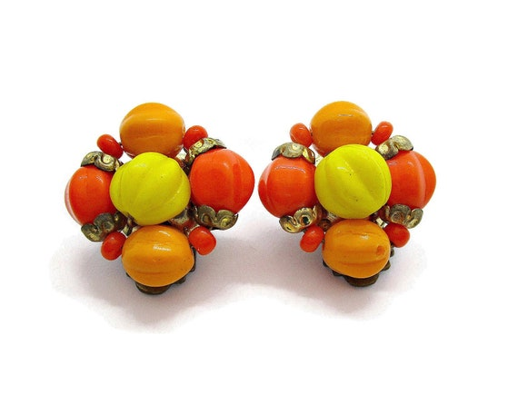 Vintage clip on earrings, orange and yellow beaded
