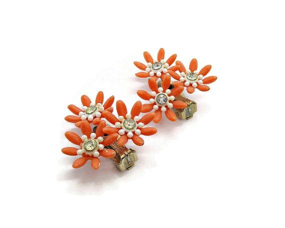 Vintage clip on earrings, orange plastic flower c… - image 2